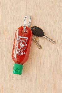 Urban Outfitter gifts under $25 all bloggers will love. Sriracha to go hot sauce bottle keychain